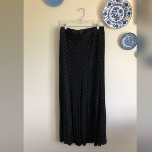 Torrid 4X Black Maxi Skirt with White Polkadots